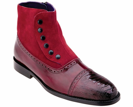 Belvedere Mens Red Ostrich Toe Spat Boots Filipo 905 - click to enlarge