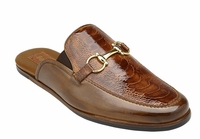 Belvedere Shoes Mens Brandy Brown Ostrich Skin Slide Ray