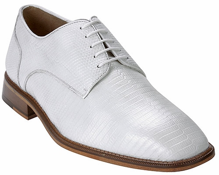 Belvedere Mens White Genuine Lizard Skin Shoes Olivo H14 - click to enlarge