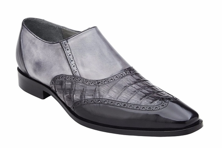 Belvedere Shoes Mens Gray Crocodile Calf Wingtip Loafers Lucas - click to enlarge