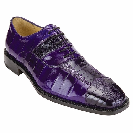 Belvedere Shoes Mare Purple Eel Ostrich Skin Shoes 2P7 - click to enlarge