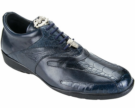 Belvedere Mens Blue Ostrich Leg Exotic Sneakers Bene - click to enlarge