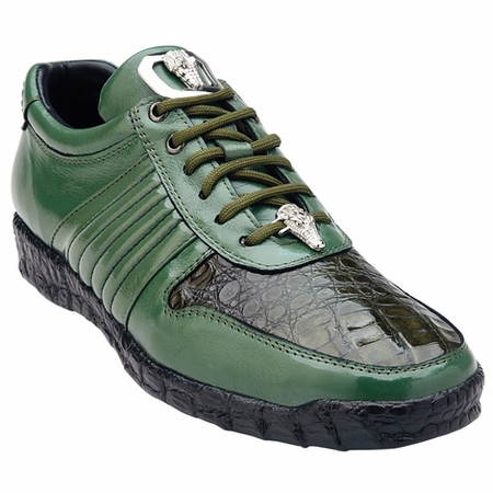 Belvedere Shoes Olive Green Crocodile Trim Sneakers Astor 3000 - click to enlarge