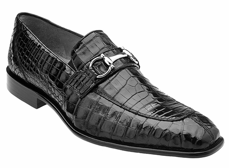 Belvedere Mens Black Crocodile Loafers Mercuri  - click to enlarge