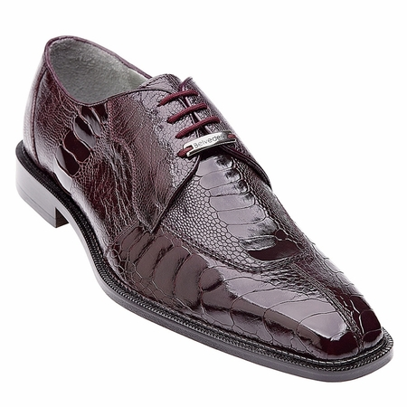 Belvedere Siena Mens Burgundy Ostrich Leg Skin Shoes 1463 - click to enlarge