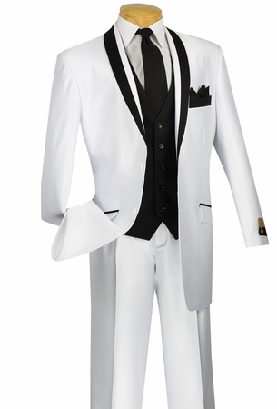 Vinci Mens 5 Piece Shiny Fashion Suit Ensemble White 23RR-3 - click to enlarge