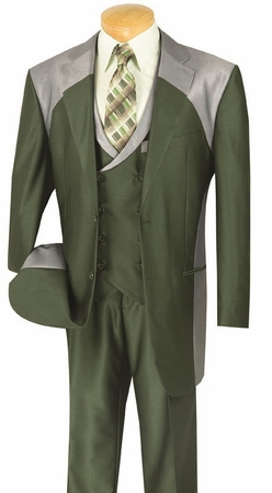 Vinci Mens Olive Shiny Two Tone 3 Piece Fashion Suit 23CV-1 - click to enlarge