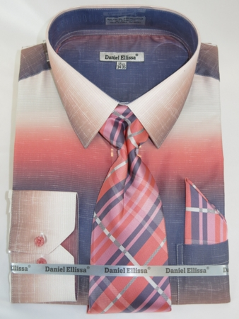 Big Men Dress Shirts with Ties Stylish Salmon Color Blend DE DS3795 - click to enlarge