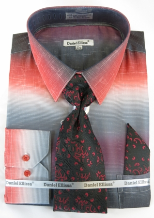 Big Men Size Dress Shirts with Ties Red Color Blend DE DS3795 - click to enlarge