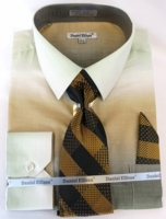 Big Men Size Dress Shirts with Ties Stylish Beige Color Blend DE DS3795