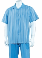 Big Size Mens Leisure Walking Suit Blue Stripe 2 Piece Set M2966G