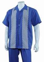 Big Size Mens Walking Suit Blue Panel Front 2 Piece Set M2968G