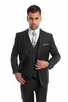 Black 3 Piece Suit Mens Solid Color Regular Fit Tazio M302-01