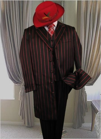 Zoot Suits Black Red 1940s Style Stripe Long Jacket Alberto M282 - click to enlarge
