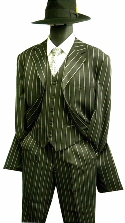 Zoot Suits Black White Gangster Stripe with Vest Alberto M282 - click to enlarge