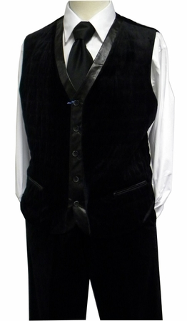 Blu Martini Mens Black Quilted Velvet Vest Outfit IS - click to enlarge