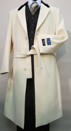 Blu Martini Ivory Chesterfield Wool Overcoat Full Length Vance 4150-106 - click to enlarge
