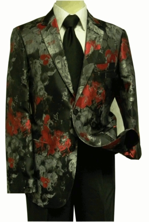 Blu Martini Men's Black Red Rose Shiny Fashion Blazer 5514-050 - click to enlarge