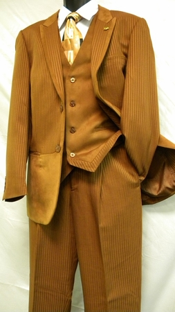Falcone Rust Suede Vested 3 Piece Fashion Suit 3763-078 IS - click to enlarge