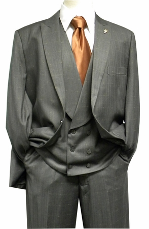 Falcone Mens Gray Mase Shawl Vested 3 Piece Suit 5414-021 IS - click to enlarge