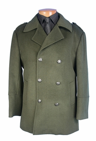 Blu Martini Olive Double Breasted Wool Car Coat Utah 4150-063 - click to enlarge