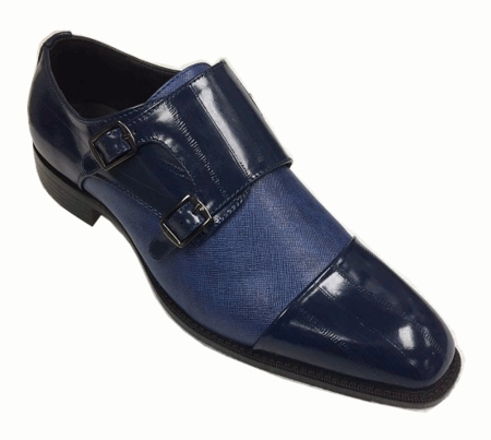 Mens Stylish Dress Shoes Blue 2 Buckle Bolano Marcus - click to enlarge