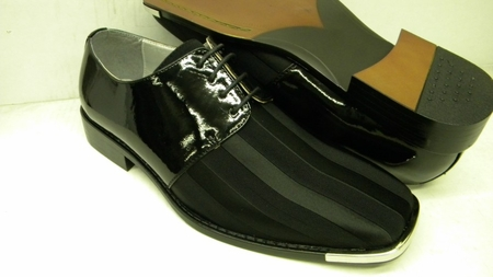 Bolano Mens Black Patent Leather Satin Stripe Dress Shoes 5205 - click to enlarge