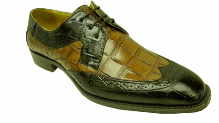 Bolano Mens Brown Brandy Croc Print Wingtip Shoes 5916-065 - click to enlarge