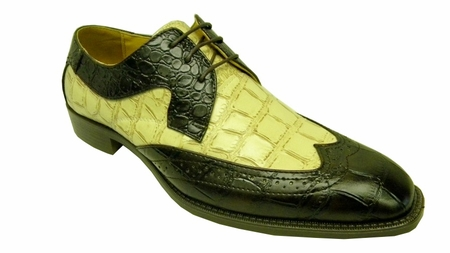 Bolano Mens Brown Cream Croc Print Wingtip Shoes 5916-006 IS - click to enlarge