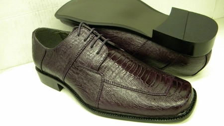 Bolano Mens Dark Purple Ostrich Print Dress Shoes 738 IS - click to enlarge