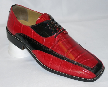 Liberty Mens Red Black Gator Print Dress Shoes LS447 - click to enlarge