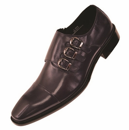 Steven Land Navy 3 Buckle Leather Dress Shoes SL308 IS - click to enlarge