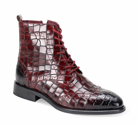 Giovanni Mens Burgundy Gator Print Leather Dress Boots Corbin - click to enlarge