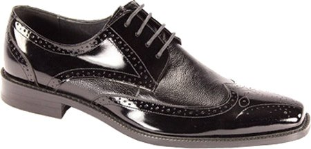 Giorgio Venturi Mens Black Polished Leather Wing Tip Dress Shoes 6280