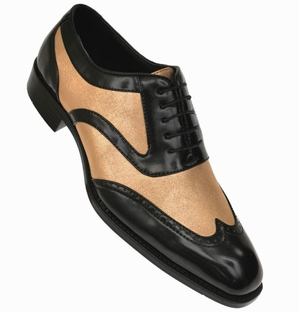 Bolano Mens Black Gold Wingtip Shoes Performer Lawson - click to enlarge