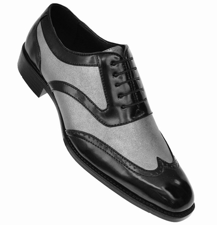 Bolano Mens Black Silver Wingtip Shoes Performer Lawson - click to enlarge