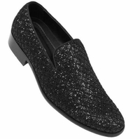 Bolano Mens Prom Shoes Black Stylish Glitter Tuxedo Slip On Sarlo
