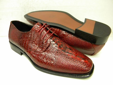 Bolano Mens Red Crocodile Print Dress Shoes 451-005 IS - click to enlarge