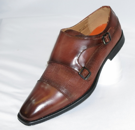 Antonio Mens Brown Italian Style Double Strap Dress Shoes 6670 - click to enlarge