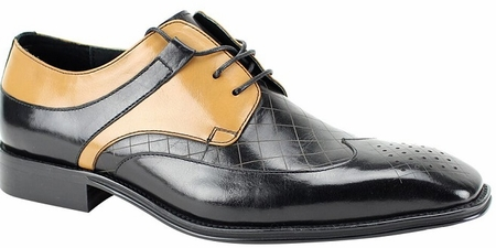 Giovanni Mens Black/Taupe Leather Basket Weave Design Lace Up Shoes Enzo - click to enlarge