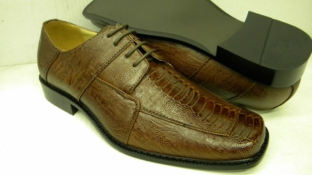 Bolano Mens Rust Ostrich Print Square Toe Dress Shoes 738 IS - click to enlarge