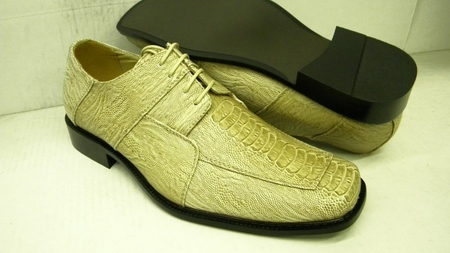 Bolano Mens Tan Ostrich Print Square Toe Dress Shoes 738 IS - click to enlarge