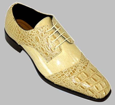 Bolano Shoes Mens Tan Taupe Gator Textued Cap Toe Bandit - click to enlarge