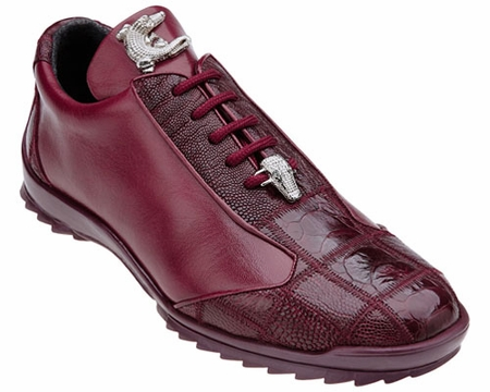 Belvedere Burgundy Ostrich Skin Casual Exotic Sneaker Paulo 40486 - click to enlarge