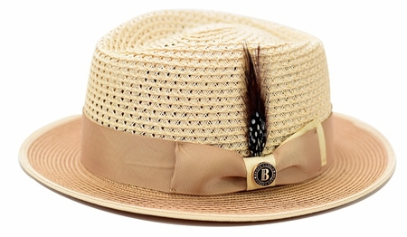 Bruno Capeli Summer Hat Mens Sand Two Tone Straw HA-723 - click to enlarge