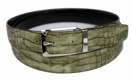 Bruno Capelli Mens Olive  Black Crocodile Print Belt BC-1555 - click to enlarge