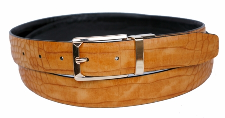 Bruno Capelli Mens Tan Black Crocodile Print Belt BC-1557 - click to enlarge