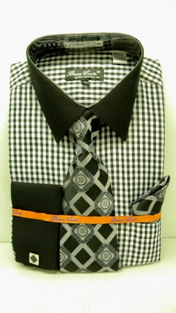 Bruno Conte Black Ginham Plaid French Cuff Shirt Tie Set BC992  - click to enlarge