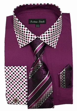 Fortino Milano Mens Rose Purple French Cuff Dress Shirt Tie Set FL630 - click to enlarge