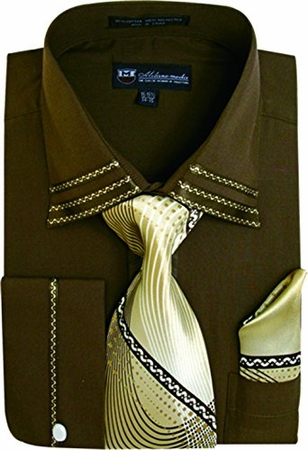 Milano Mens Fancy Trim Brown French Cuff Shirt Tie Set SG28 - click to enlarge